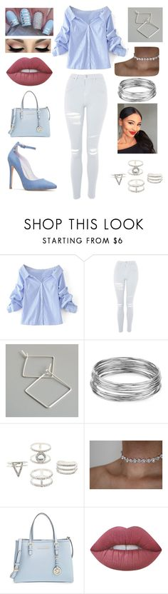 """Blue Baby Blue"" by amariah-rose-love ❤ liked on Polyvore featuring WithChic, Topshop, Aqua, Charlotte Russe, MICHAEL Michael Kors and Lime Crime"