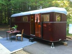 The 1934 Covered Wagon is the first dual axle production trailer ever built. Purchased from the MH/RV Hall of Fame. It has been meticulously restored. Some of the most interesting features include taking the exterior back to the original leatherette and the painted canvas roof. For sale by Flyte Camp #outdoors, #campinggear, #fishinggear, #ClimbingGear