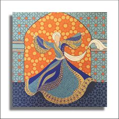 Original Painting Whirling Dervish Sufi Dance Rumi Miniature - AESMPM0033