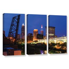 Cleveland 21 by Cody York 3 Piece Gallery-Wrapped Canvas Set