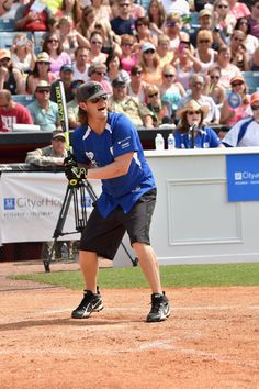 Tyler Hubbard of Florida Georgia Line plays in the City of Hope Celebrity Softball Game during CMA Festival on June 7, 2014, in Nashville.