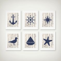 Nautical Art Print Set of 6 – Nautical Decor – Nautical Art – Set of 6 Prints Nautical Art Print Set of – Printed on heavyweight matte archival paper with high quality inks. – Frame and mat not included. Nautical Bathroom Design Ideas, Nautical Design, Nautical Home, Nautical Bathrooms, Nautical Interior, Unfinished Wood Furniture, Pintura Country, Beach House Decor, Decoration