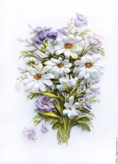 """Ribbon embroidery / Картины цветов ручной работы. Ярмарка Мастеров - ручная работа. Купить Вышивка лентами. """"Полевые цветы..."""". Handmade. Комбинированный"""