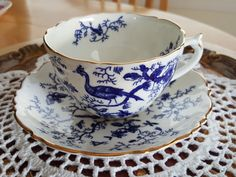 Fancy Coalport 'CAIRO' Cobalt Blue and White Tea Cup and Saucer,  Scalloped edges, Made in England-MW
