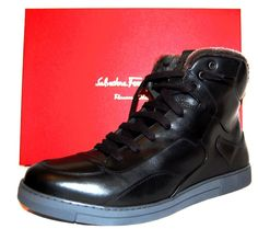 Salvatore Ferragamo Shoes ROBERT 2 Black Leather Fur Boots Sz EU 11 US 12 $1130…