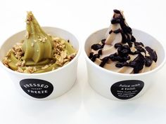 Pressed Juicery's green juice and chocolate almond soft-serves