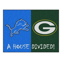 Detroit Lions - Green Bay Packers NFL House Divided Rugs 33.75x42.5