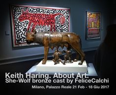 FeliceCalchi she wolf cast at Keith Haring's Exhibition in Milan 2017