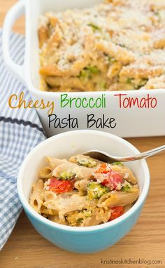 This macaroni and cheese-style pasta bake is made even better with roasted broccoli, roasted tomatoes, and whole grain pasta.