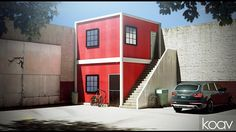 Bold red architecture in an unusual location