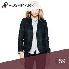 Women's plaid jacket Academy blazer from GAP.  Wool blend. Long sleeves with single button cuffs. Notched lapel with two button placket. Angled welt pocket.  Nice red details under the collar and under the cuffs - visible when styled. Black old fashion buttons. Navy and green plaid. Thick, soft, flannel-like-feel fabric. Fully lined. Excellent condition. No signs of wear. More pictures / measurements available upon request. GAP Jackets & Coats Blazers