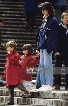 Princess Caroline of Monaco, a member of the Grimaldi family, with children in 1988 in Paris, France. Princess Caroline married Ernst August V, Prince of Hanover in 1999 and is also titled as Caroline, Princess of Hanover. She will be celebrating her 50th birthday on January 23rd.