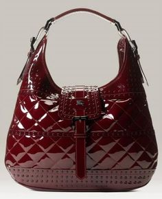 Burberry Quilted Patent Leather Hobo with Stud Detail Studded Handbags, Purses And Handbags, Leather Handbags, Burberry Handbags, Burberry Bags, Burberry Prorsum, Or Rouge, Bowling Bags, Burberry Women
