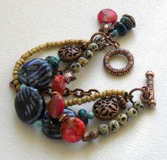Multi Strand Ceramic Handmade Beaded by bdzzledbeadedjewelry, $29.00