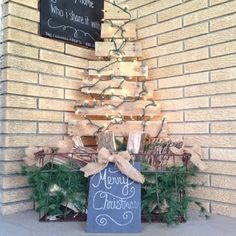 This is my porch decor for this year. Made out of scrap pallet wood. I used this tutorial. Kept my tree natural! http://www.hometalk.com/2529806/diy-pallet-christmas-tree-tutorial