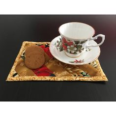 Quilted Mug Mat, Set of 2, Red Gold Mug Mat, Handmade Mug Mats, Mini... ($23) ❤ liked on Polyvore featuring home and kitchen & dining