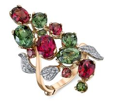 Bouquet ring in 14k rose gold with 8.04 cts. t.w. tourmalines and 0.09 ct. t.w. diamonds, price on request; Dallas Prince Designs