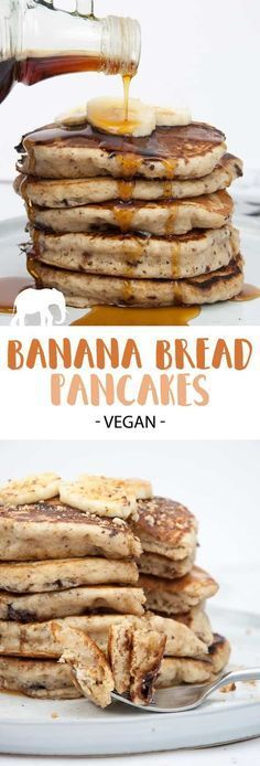 Vegan Banana Bread Pancakes with Chocolate Chunks. The perfect Sunday breakfast! Recipe on ElephantasticVegan.com