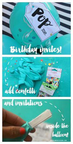 party  balloon birthday invitations. Pop the balloon for invites: