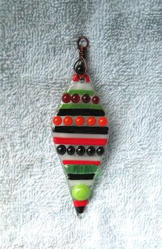 Fused Glass Christmas Ornament  IC017 by RockinMosaics on Etsy