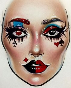 Creative makeup ideas you can use for . Clown Makeup, Costume Makeup, Eye Makeup, Makeup Inspo, Makeup Inspiration, Makeup Ideas, Maquillage Harry Potter, Mac Face Charts, Make Up Designs
