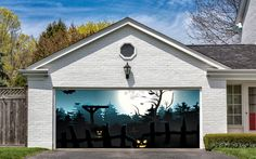 Halloween Garage Door Decorations Billboard Covers Art Decor Pumpkin Moon G14 #DecalHouse