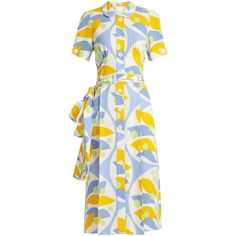Miu Miu Floral-print crepe dress (€1.160) ❤ liked on Polyvore featuring dresses, blue print, floral summer dresses, white blue dress, blue floral dress, blue dress and floral dresses