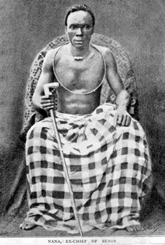 Africa   Chief Nana Olomu (also spelled Olumu)(1852–1916) was an Itsekiri chief and merchant from the Niger Delta region of southern Nigeria.     The title of 'Governor of Benin River' was given to Nana Olomu by the British in 1884. He exerted immense political power through a network of armed traders in palm oil working along the upper reaches of the river and he built a town in the mangrove swamps defended by flintlock guns and brass cannon.