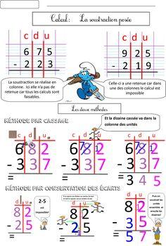 Calcul CE1 CE2 La soustraction posée (2 méthodes) | BLOG de Monsieur Mathieu GS CP CE1 CE2 CM1