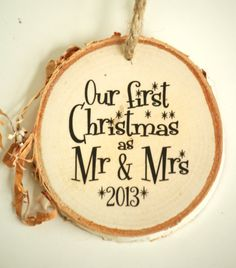 First Christmas Holiday Ornament - BIRCH Wood - Wedding Gift - Couple's Frist Christmas - Our First Christmas as Mr & Mrs on Etsy, $13.99