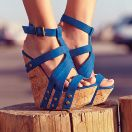 Skyhigh wedges in this amazing blue color.