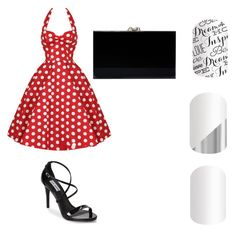 """Red polka dress with coordinating nail wraps"" by ariel-jolley-croteau on Polyvore"