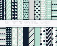 Modern Digital Paper in Mint Navy and Gray by JustPeachyDigitals on Etsy $3
