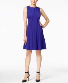 CALVIN KLEIN Calvin Klein Piped Fit & Flare Dress. #calvinklein #cloth # dresses