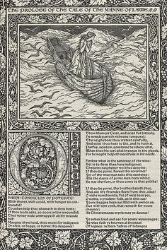 The works of Geoffrey Chaucer : now newly imprinted : Printed by William Morris at the Kelmscott Press Graphic Design Art, Book Design, William Morris Art, Edward Burne Jones, Pre Raphaelite, Arts And Crafts Movement, Illuminated Manuscript, Illuminated Letters, Geoffrey Chaucer