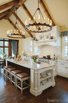 Wood beams for the kitchen were salvaged from the homeowner's uncle's barn in Zanesville.
