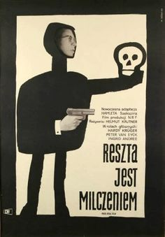 Vintage Polish movie poster 1960 by Wiktor Gorka : Reszta jest milczeniem Polish Movie Posters, Polish Films, Film Posters, Saul Bass, Poster S, Poster Prints, The Rest Is Silence, Zine, Ink Doodles