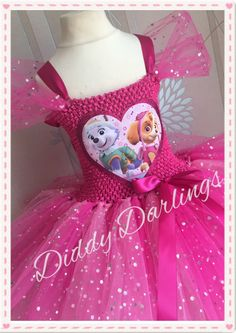 Pink Paw Patrol Tutu Dress. Skye and Everest Dress Costume Tutu Dress. Inspired Handmade Dress. All Sizes. Sparkly All Colours Available by DiddyDarlings on Etsy