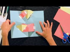 How to Make a V-Fold on Layers for a Pop-Up Card Cultura Maker, Libros Pop-up, Tarjetas Pop Up, Pop Up Art, Paper Pop, Diy And Crafts Sewing, Fancy Fold Cards, Handmade Books, Handmade Jewelry