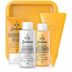 Sol de Jainero- Brazilian Golden Body Veil. Took a break from waxing or using harsh hair removing chemicals. I tried this super gentle hair lightening system and am in love. Leaves a beautiful golden hue on body hair. Makes my tan pop! Yay!!!