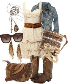 Not sure I could pull it off, but cute country outfit  :) love the dress