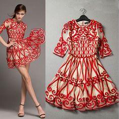 Fashion Braided 3D Embroidery Half Sleeve Dress [grxjy561854]