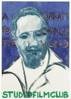 """""""'A DREAM TO CHANGE THE WORLD' BY HORACE OVÉ (A FILM ABOUT JOHN LA ROSE""""  2006 [""""A Dream to Change the World"""", UK/TT 2004, R/D: Horace Ove] Sammlung Ringier oil on paper 84 x 59 cm / 33 x 23"""" PETER DOIG."""