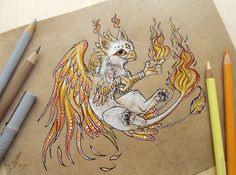 Little gryphon of Fire by AlviaAlcedo on deviantART Fantasy Drawings, Cool Drawings, Fantasy Art, Fantasy Creatures, Mythical Creatures, Creature Drawings, Dragon Art, Anime Kawaii, Drawing Reference