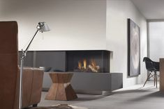 High-Tech Style Living room with Fireplace