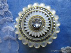 "0010-B - 1700's Pearl, Paste-Head Pin Shank, Paste Inner Border in Hobnail Perimeter 18th Century Button - 1-7/16"" - For Sale for $495. Contact Dianne at buttongirl7@gmail.com"