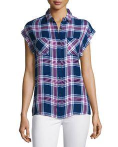 Britt+Plaid+Short-Sleeve+Shirt,+Navy/Magenta/White+at+CUSP.