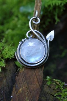 Elven pendant sterling silver and Prehnite made to by Dreamspell