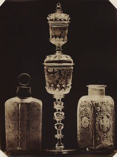 Ludwig Belitski Glassware Chalice and Other Glass Containers PRICE $6,000 REF.# 14952 MEDIUM Salt print from wet plate negative MOUNT on original mount PHOTO DATE 1854  PRINT DATE 1854