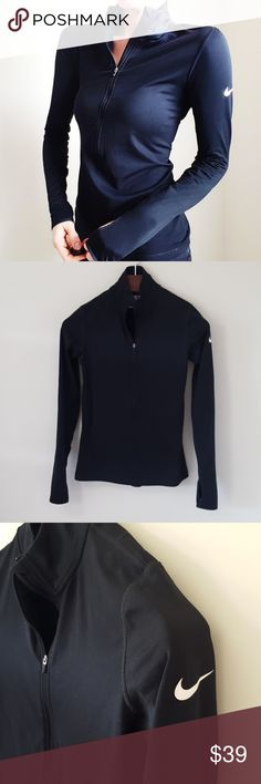 Nike | pro dri fit black quarter zip | M In good condition! Nike pro dri fit quarter zip thermal top, size medium. Thumb holes! Used item: inspected for quality. Any signs of wear are shown in pictures. Bundle up! Offers always welcome:) Nike Tops Sweatshirts & Hoodies